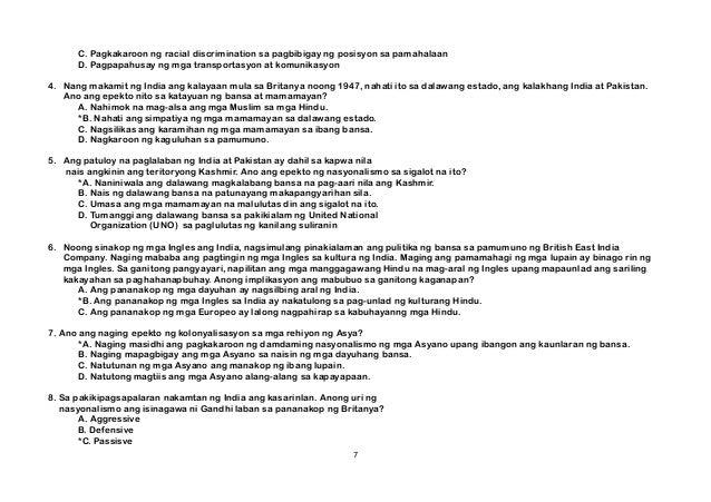 C. Pagkakaroon ng racial discrimination sa pagbibigay ng posisyon sa pamahalaan D. Pagpapahusay ng mga transportasyon at k...