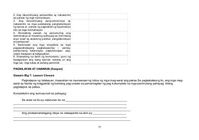 2. Ang ideyolohiyang pampulitika ay nakasentro sa paraan ng mga mamamayan. 3. Ang ideyolohiyang pang-ekonomiya ay nakasent...