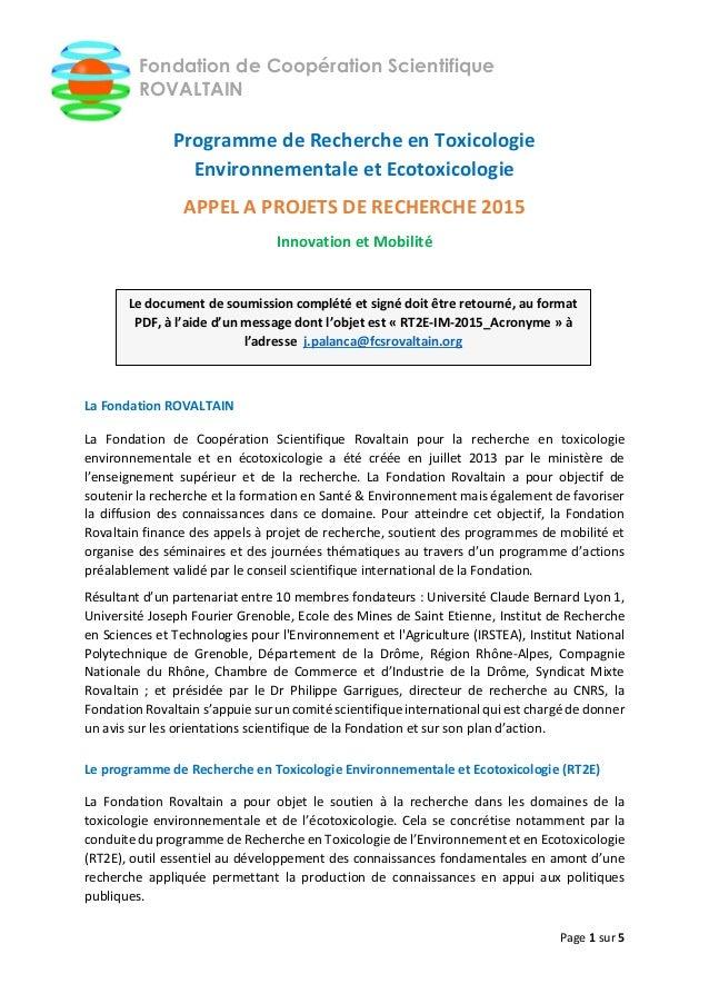 Page 1 sur 5 Fondation de Coopération Scientifique ROVALTAIN Programme de Recherche en Toxicologie Environnementale et Eco...