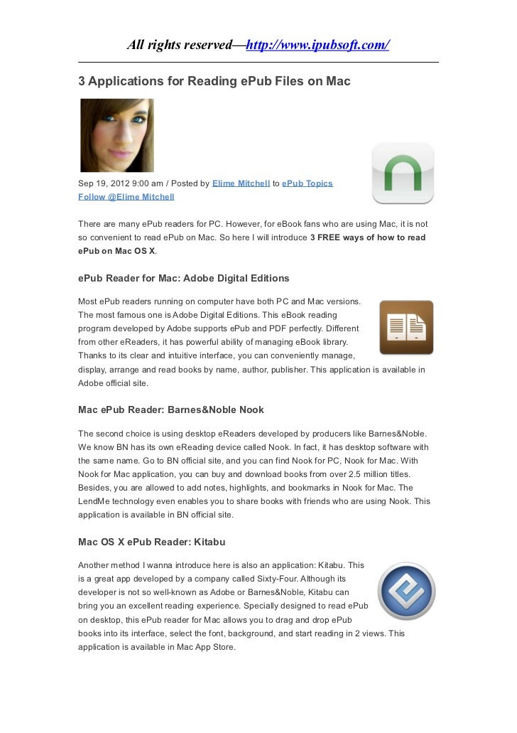 All rights reserved—http://www.ipubsoft.com/3 Applications for Reading ePub Files on MacSep 19, 2012 9:00 am / Posted by E...