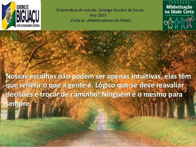 Orientadora de estudo: Solange Goulart de SouzaAno 2013Visita às alfabetizadoras do PNAIC.Nossas escolhas não podem ser ap...