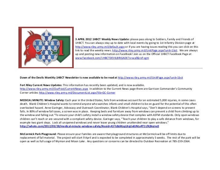 3 APRIL 2012 1HBCT Weekly News Update: please pass along to Soldiers, Family and Friends of                               ...