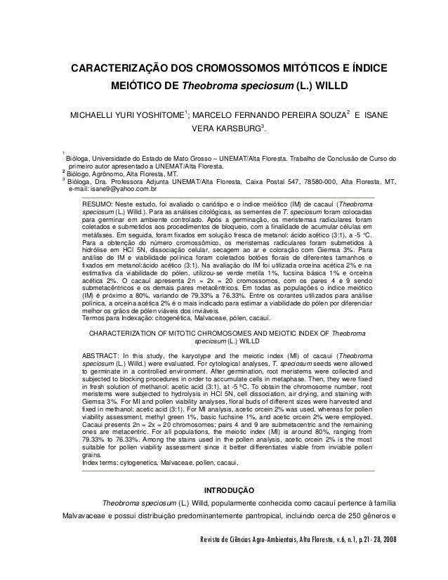 CARACTERIZAÇÃO DOS CROMOSSOMOS MITÓTICOS E ÍNDICE               MEIÓTICO DE Theobroma speciosum (L.) WILLD    MICHAELLI YU...