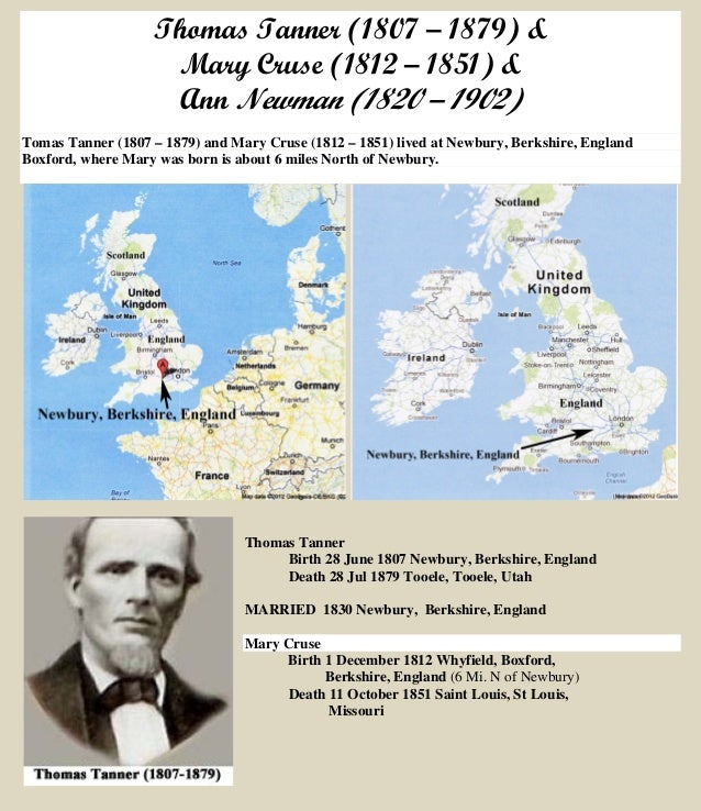 Thomas Tanner (1807 – 1879) & Mary Cruse (1812 – 1851) & Ann Newman (1820 – 1902) Tomas Tanner (1807 – 1879) and Mary Crus...