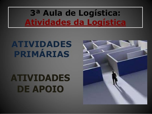 3ª Aula de Logística: Atividades da Logística ATIVIDADES PRIMÁRIAS ATIVIDADES DE APOIO