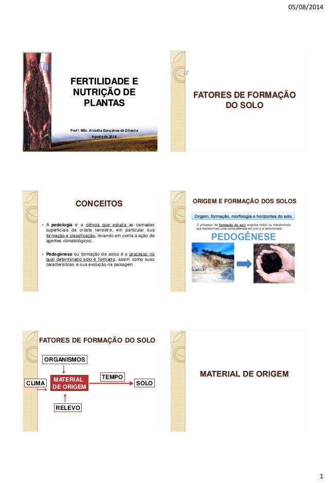 05/08/2014 1 Profª. MSc. Ariádila Gonçalves de Oliveira Agosto de 2014. FERTILIDADE E NUTRIÇÃO DE PLANTAS FATORES DE FORMA...