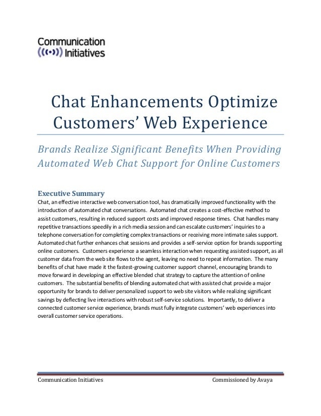 Communication Initiatives Commissioned by Avaya Chat Enhancements Optimize Customers' Web Experience Brands Realize Signif...