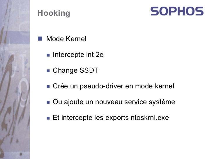 Hooking Mode Kernel   Intercepte int 2e   Change SSDT   Crée un pseudo-driver en mode kernel   Ou ajoute un nouveau servic...