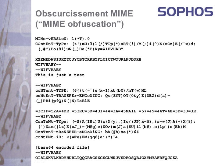 """Obscurcissement MIME(""""MIME obfuscation"""")MIMe-vERSioN: 1(*T).0COntEnT-TyPe: (<!)mU(3)l(/)TIp(*)aRT(!)/M(;)i(^)X(eCz)E(/`x)d..."""