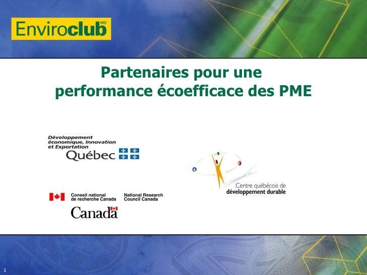 Partenaires pour une  performance écoefficace des PME