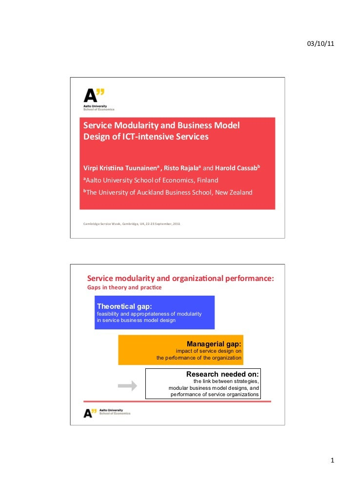 03/10/11 Service Modularity and Business Model Design of ICT-‐intensive Services Virpi Kris=ina T...
