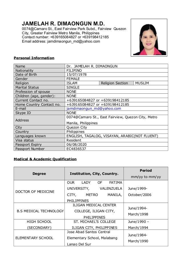 Dr Jamelah R Dimaongun Resume