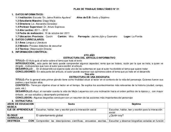 """PLAN DE TRABAJO SIMULTÁNEO N° 21    1. DATOS INFORMATIVOS:       1.1 Institución: Escuela """"Dr. Jaime Roldós Aguilera""""     ..."""
