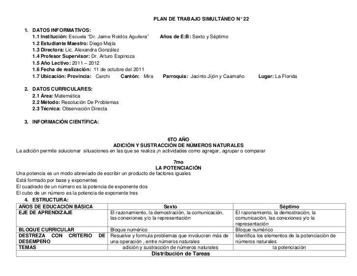 """PLAN DE TRABAJO SIMULTÁNEO N° 22   1. DATOS INFORMATIVOS:      1.1 Institución: Escuela """"Dr. Jaime Roldós Aguilera""""     Añ..."""