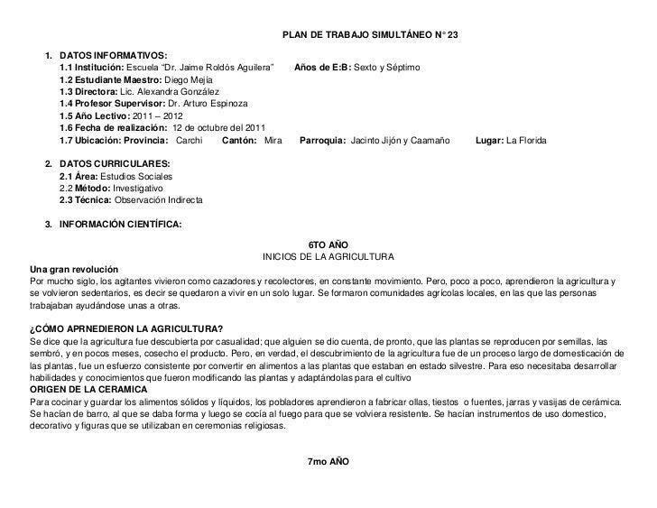 """PLAN DE TRABAJO SIMULTÁNEO N° 23   1. DATOS INFORMATIVOS:      1.1 Institución: Escuela """"Dr. Jaime Roldós Aguilera""""       ..."""