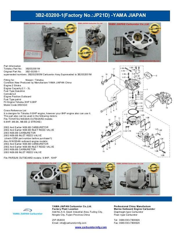 3B2-03200-1(Factory No.:JP21D) -YAMA JIAPAN www.carburetormfg.com YAMA JIAPAN Carburetor Co.,Ltd. Professional China Manuf...