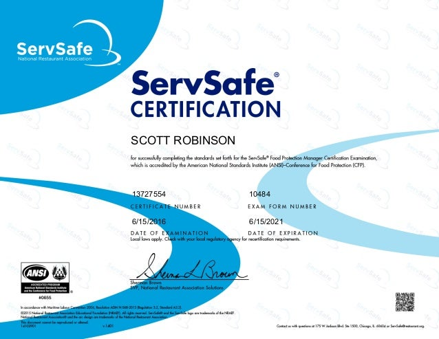ServeSafe Managers Certificate