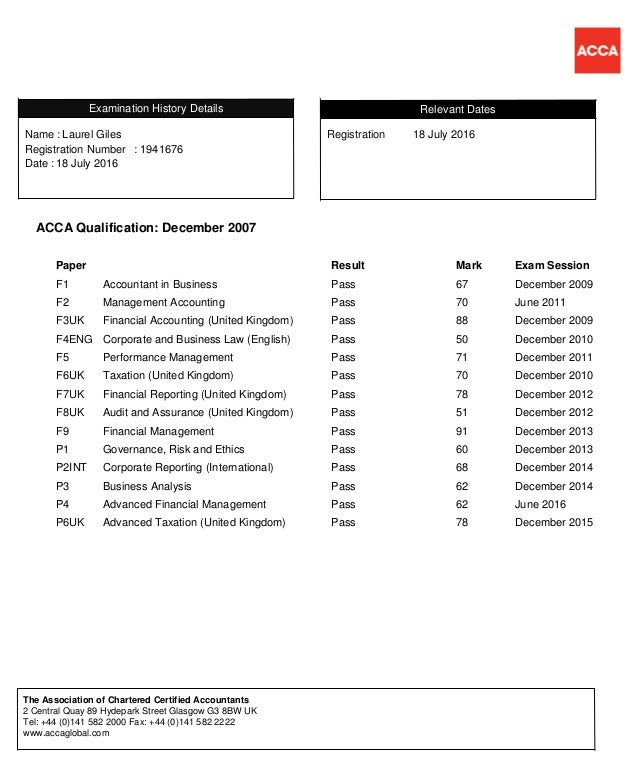 ACCA Exam Status Report