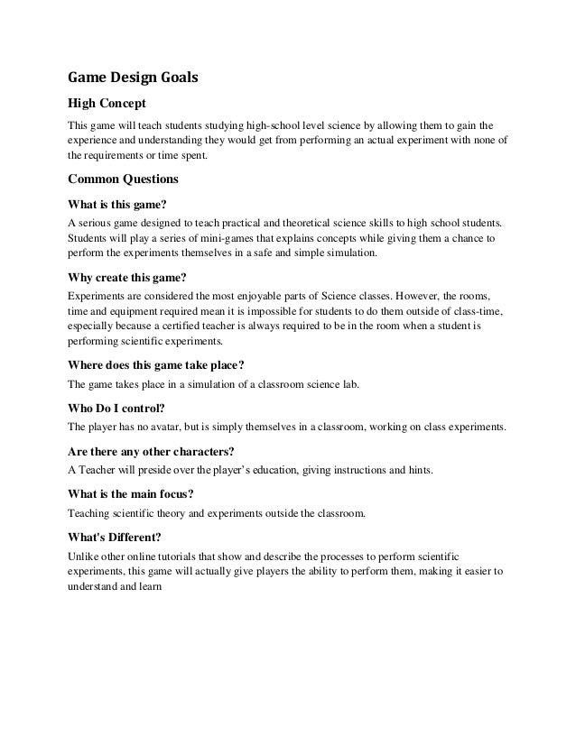 Science Document - High concept document game design