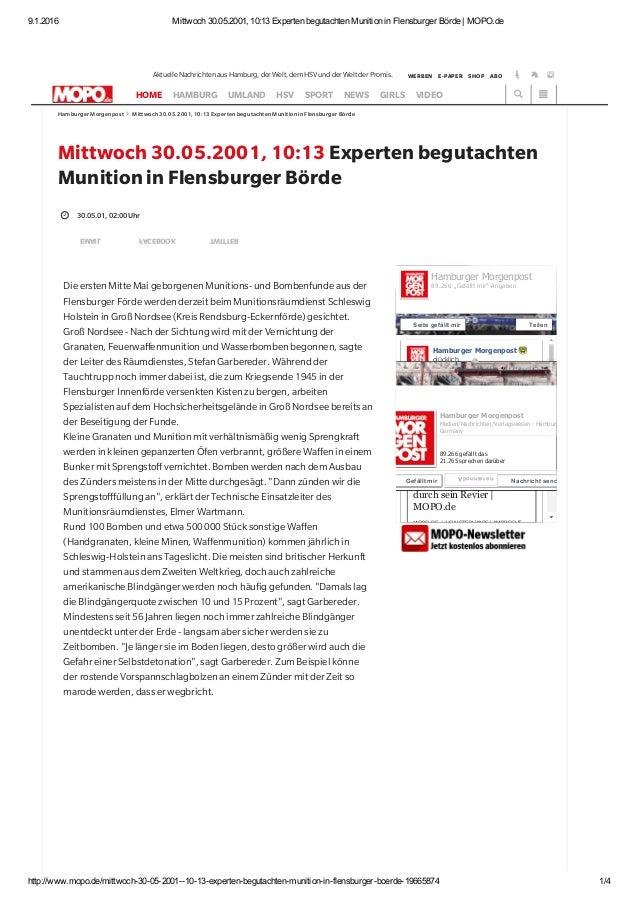 9.1.2016 Mittwoch30.05.2001,10:13ExpertenbegutachtenMunitioninFlensburgerBörde|MOPO.de http://www.mopo.de/mittwo...