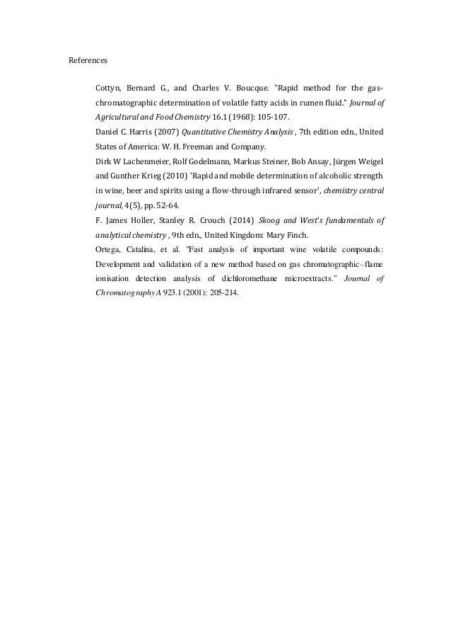Gas chromatographic determination of the ethanol
