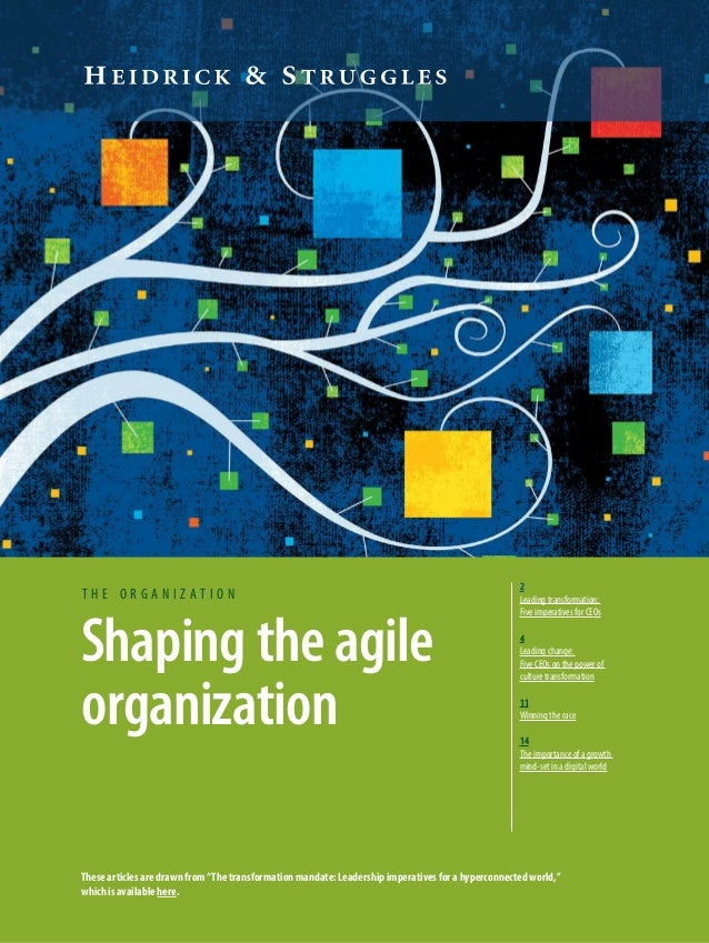 Shaping the agile organization t h e o r g a n i z a t i o n 2 Leading transformation: Five imperatives for CEOs 4 Leading...
