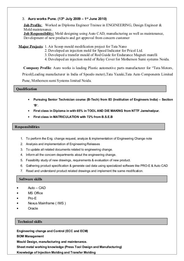 Vehicle Engineering Resume