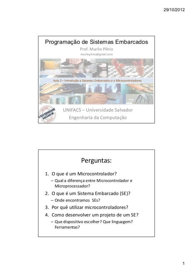 29/10/2012 1 Programação de Sistemas Embarcados Prof. Murilo Plínio muriloplinio@gmail.com UNIFACS – Universidade Salvador...