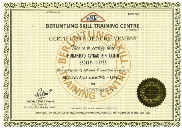 Certificate Rigging Slinging Lii