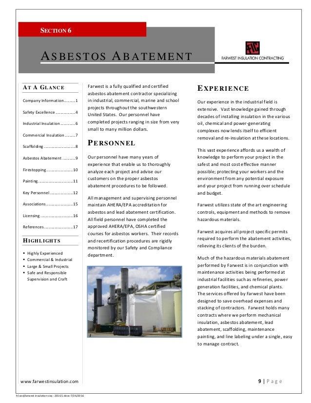Asbestos Abatement Certification Free Professional Resume