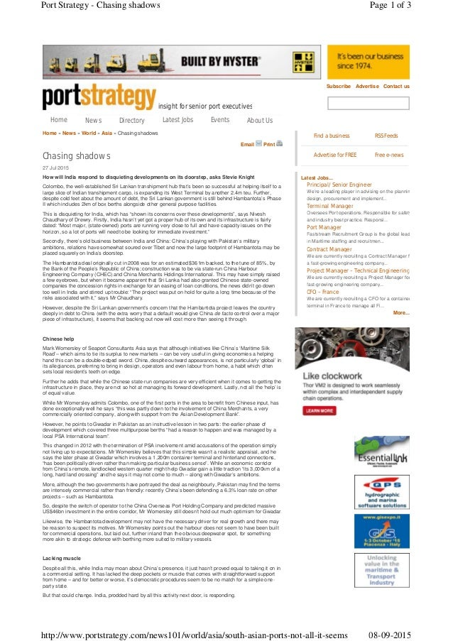 insight for senior port executives Subscribe Advertise Contact us Home » News » World » Asia » Chasing shadows Email Print...