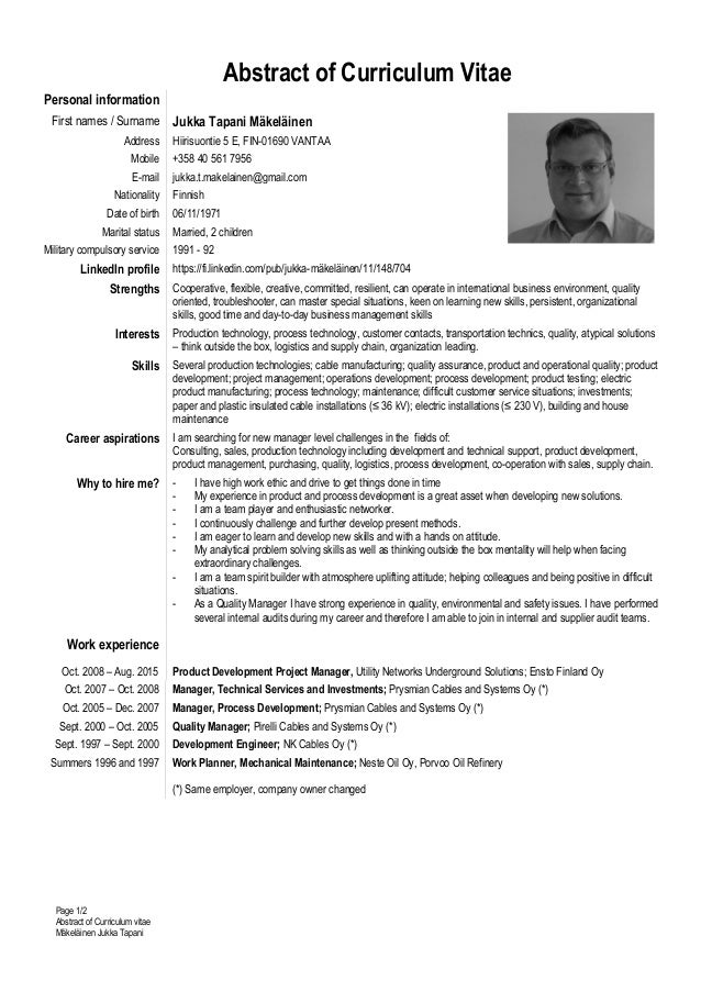 how to write an abstract on the cv