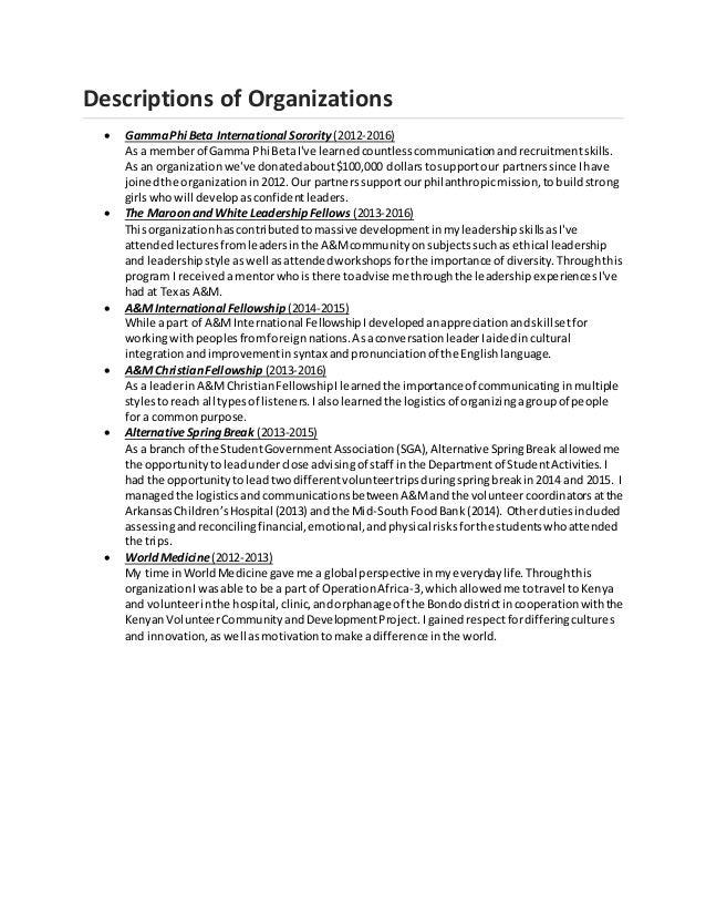 Descriptions of Organizations  GammaPhi Beta International Sorority (2012-2016) As a memberof Gamma Phi BetaI've learnedc...