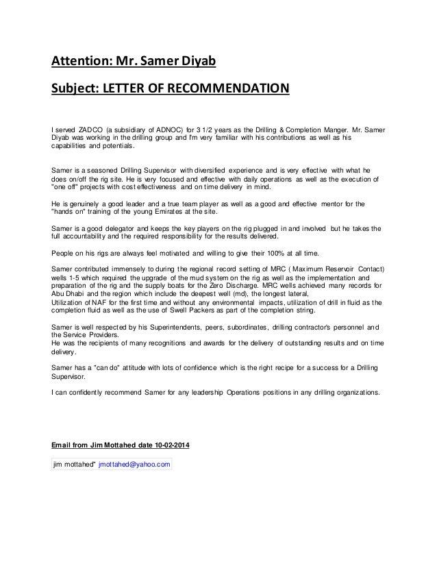 A Good Recommendation Letter.Recommendation Letter Jim Mottahed