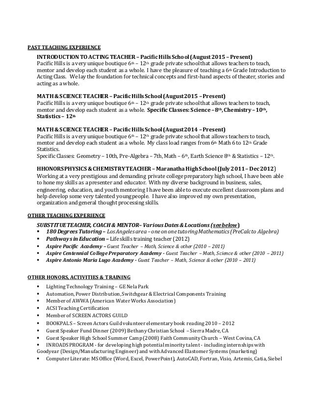 3 past teaching experience introductiontoacting - Earth Science Teacher Resume