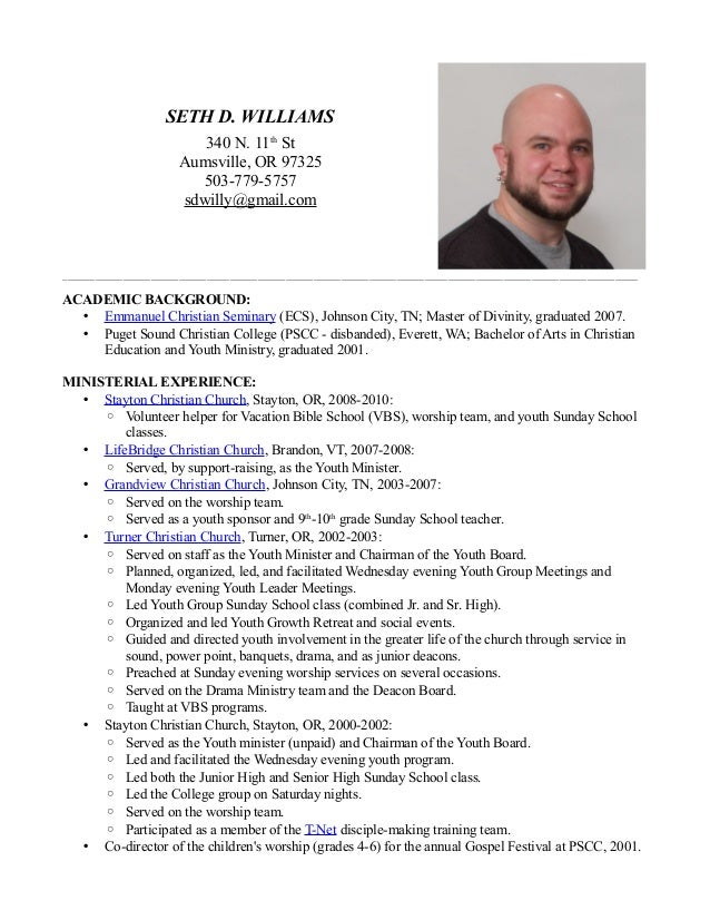 Seth D. Williams Ministry Resume