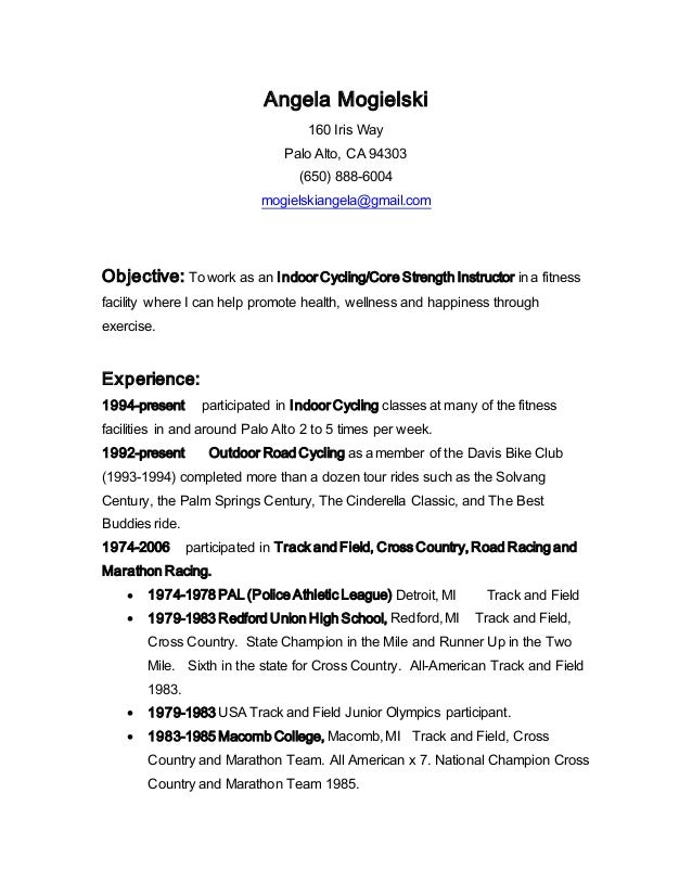 Fitness Resume Objective Resume Ideas