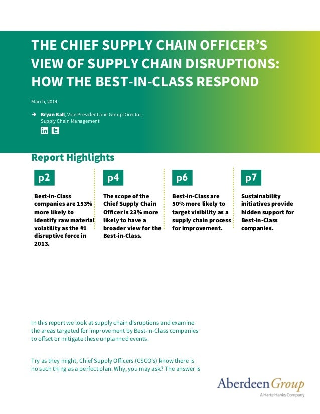 In this report we look at supply chain disruptions and examine the areas targeted for improvement by Best-in-Class compani...