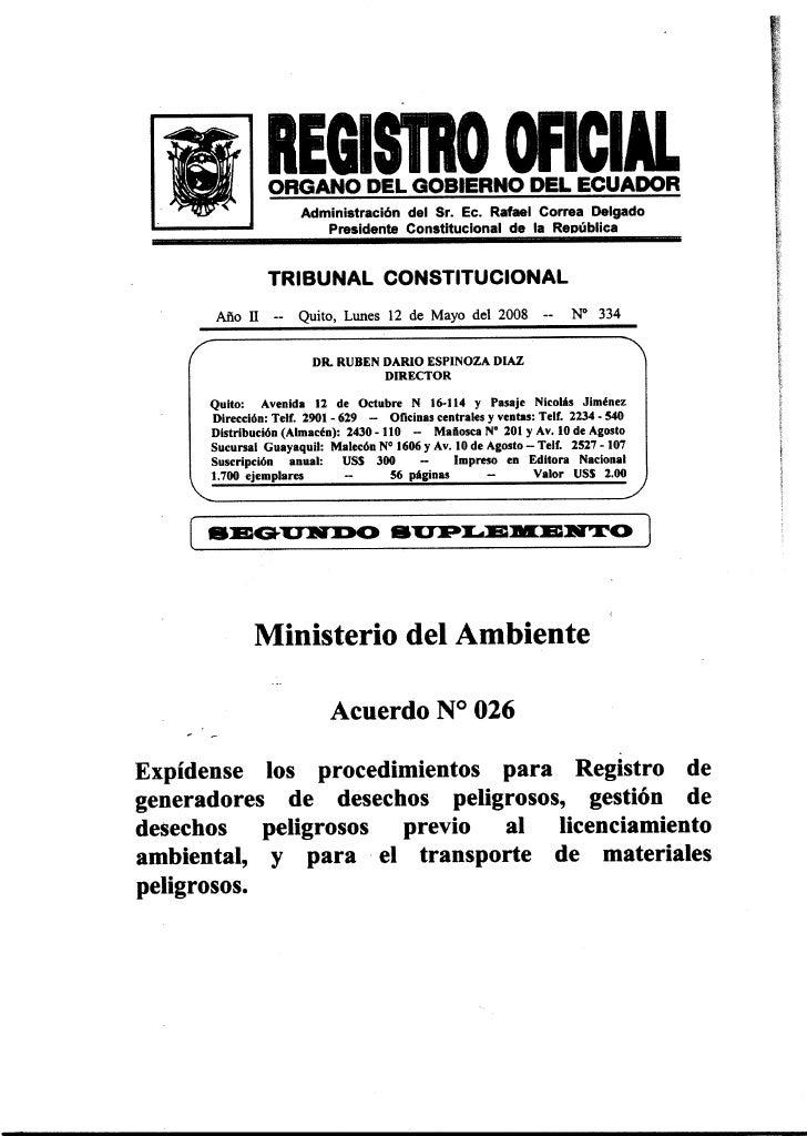 Acuerdo No. 026                           MARCELA AGUIÑAGA VALLEJO                               Ministra del Ambiente    ...