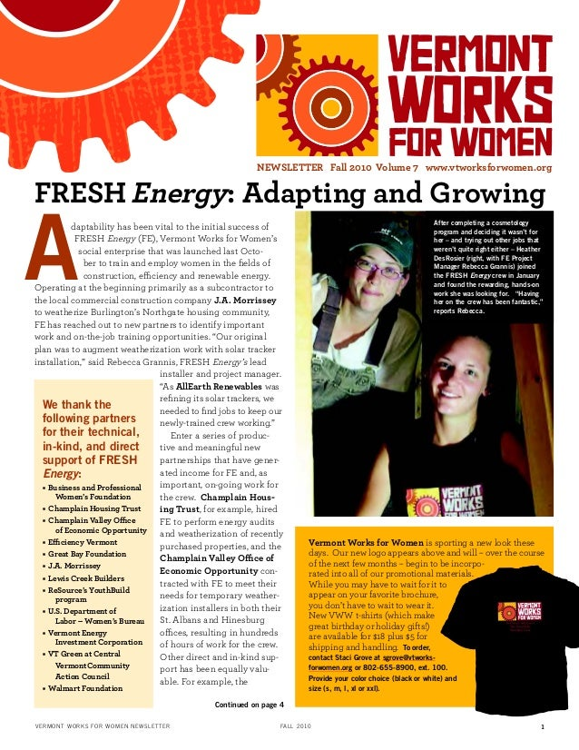 FRESHEnergy: Adapting and Growing daptability has been vital to the initial success of FRESH Energy (FE), Vermont Works fo...