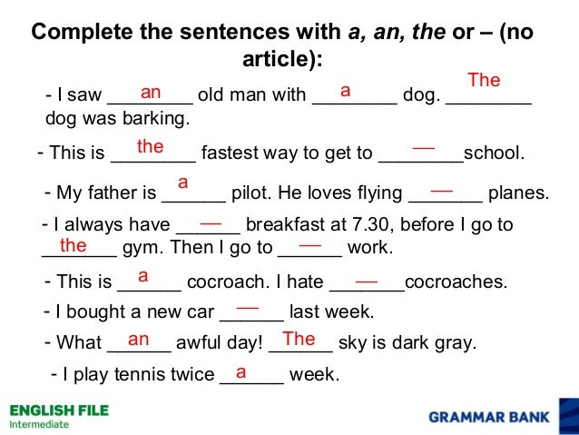 articles in your sentence