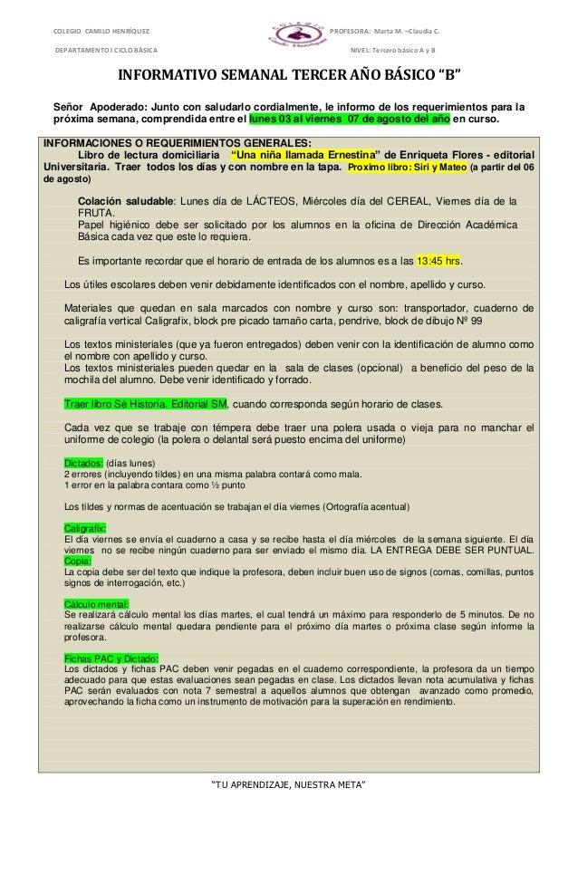 """COLEGIO CAMILO HENRÍQUEZ PROFESORA: Marta M. –Claudia C. DEPARTAMENTO I CICLO BÁSICA NIVEL: Tercero básico A y B """"TU APREN..."""