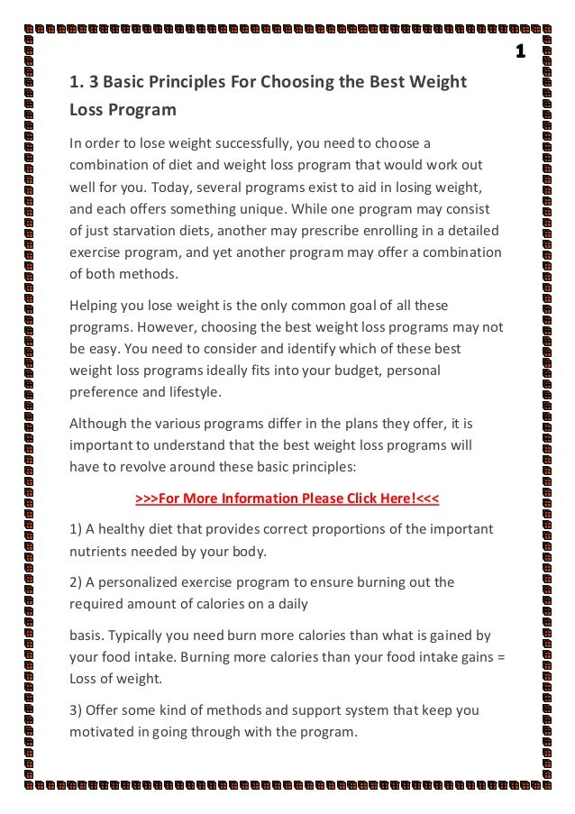 3 Basic Principles For Choosing The Best Weight Loss Program
