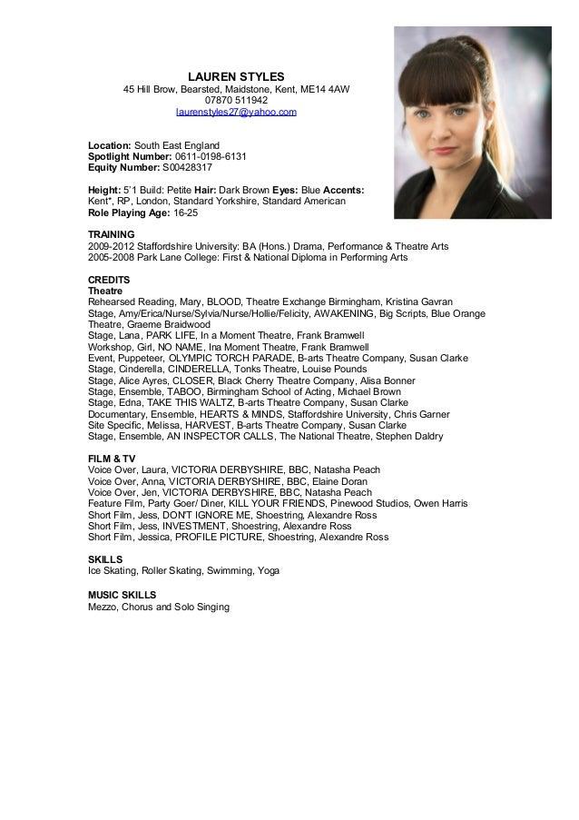 Lauren Styles Actors CV 2016