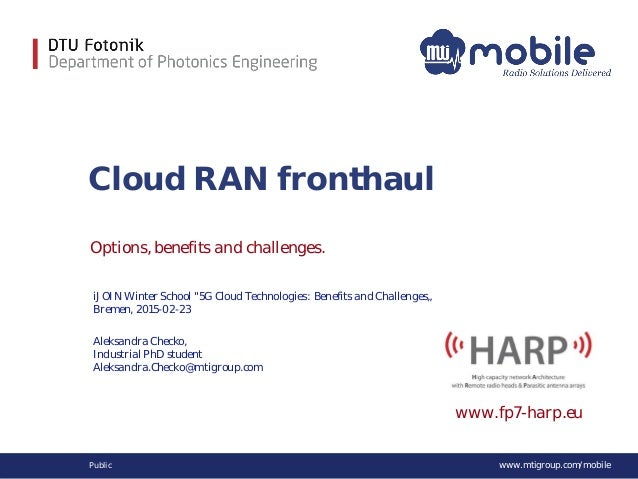 www.mtigroup.com/mobilePublic Cloud RAN fronthaul Options, benefits and challenges. Aleksandra Checko, Industrial PhD stud...