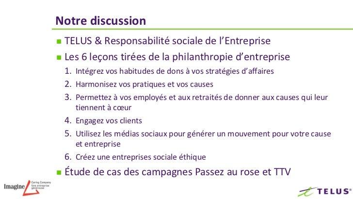 Notre discussion TELUS & Responsabilité sociale de l'Entreprise Les 6 leçons tirées de la philanthropie d'entreprise    ...