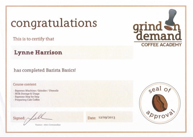 how to get a barista certificate
