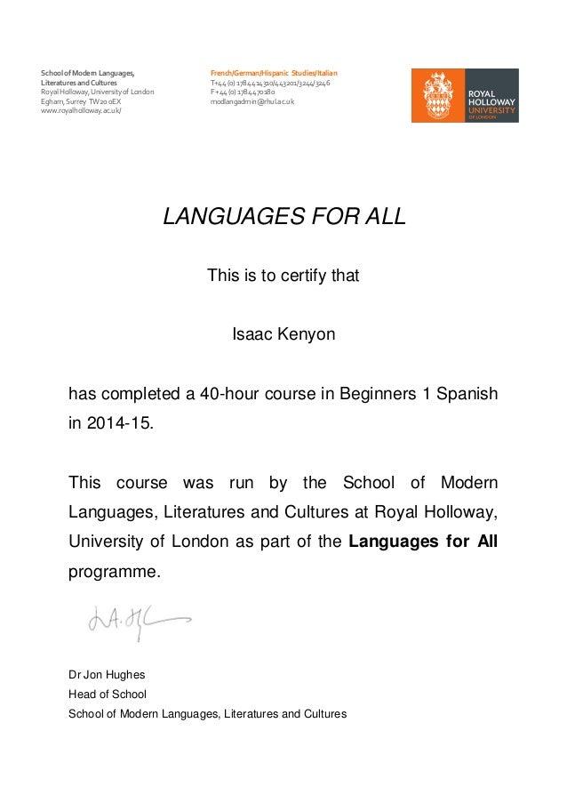 Level 1 Spanish Certificate