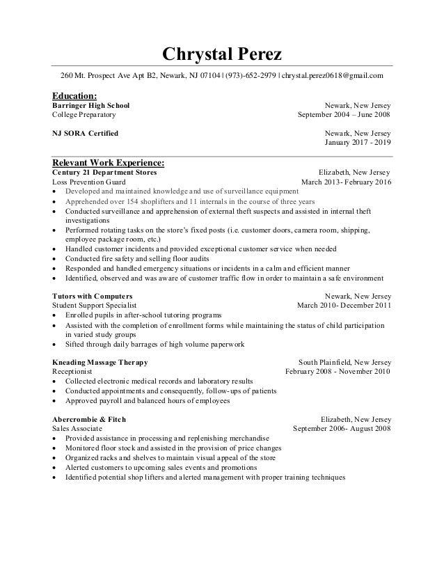 chrystal perez resume