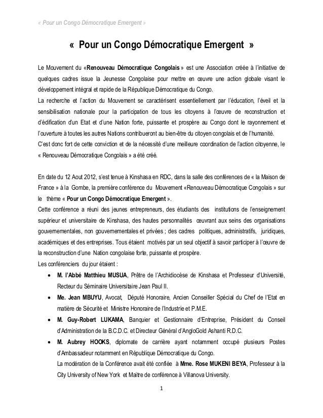 « Pour un Congo Démocratique Emergent » 1 « Pour un Congo Démocratique Emergent » Le Mouvement du «Renouveau Démocratique ...